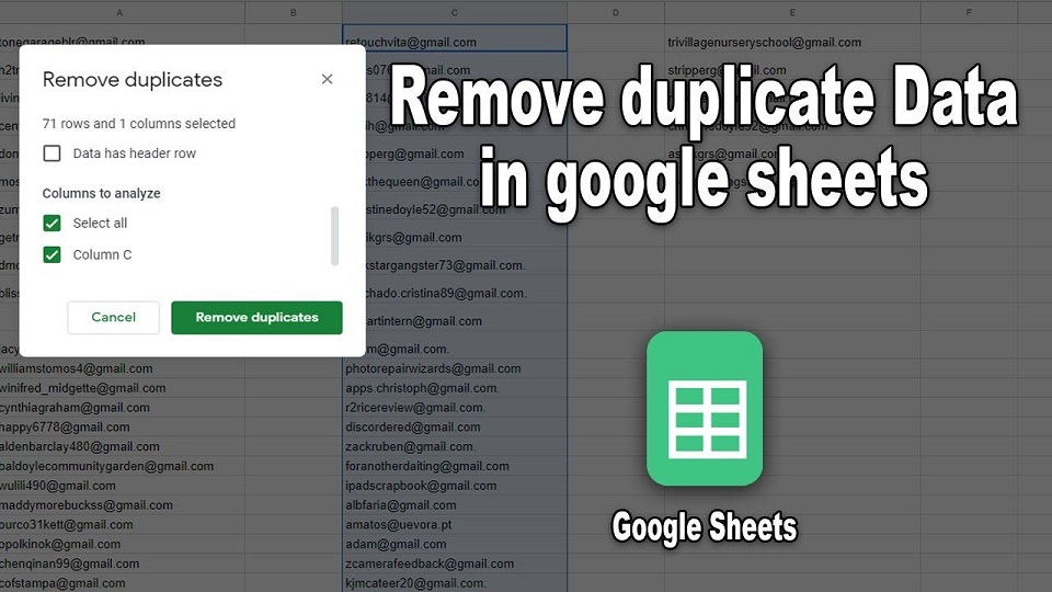 Remove Duplicate Google Sheets