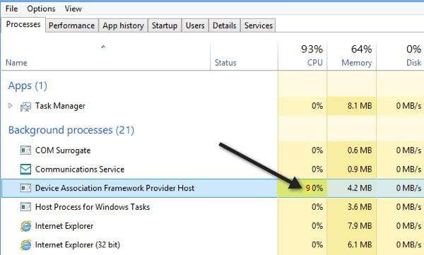 Device Association Service High Memory Usage